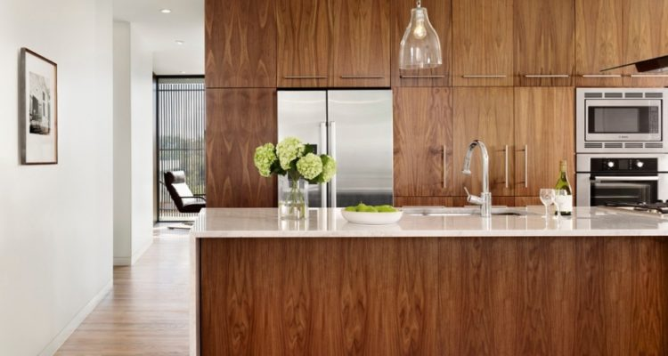 Modern Kitchen with Walnut Colour Wood Cabinetry