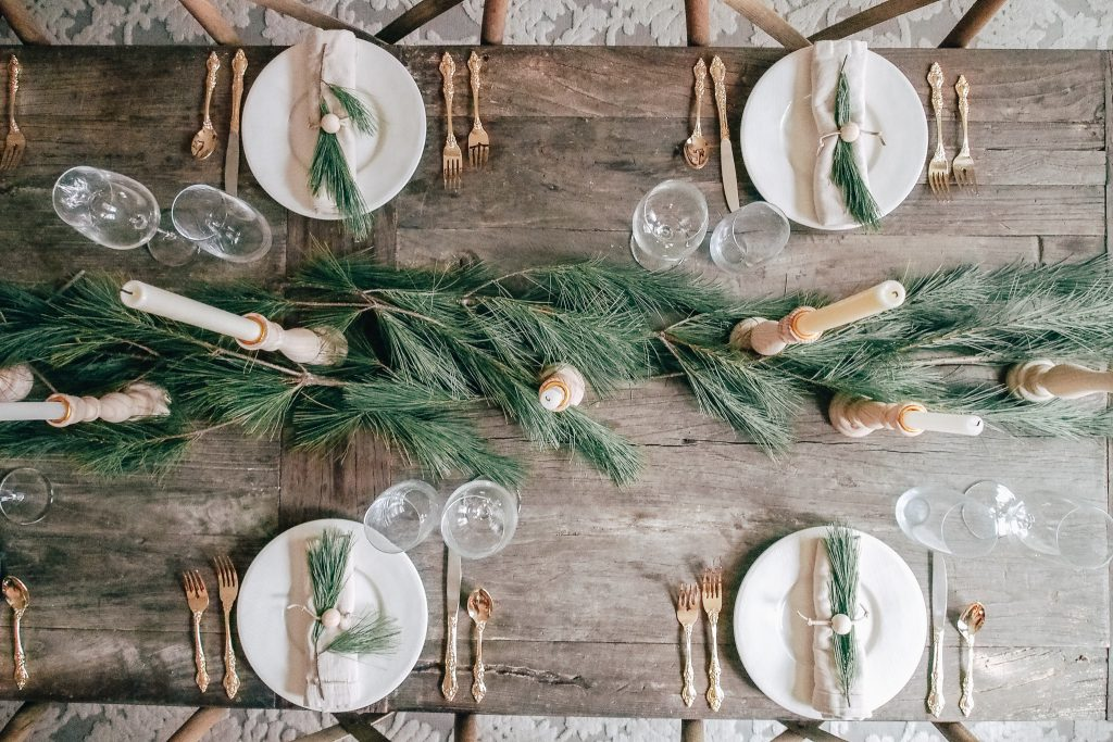 Table decorated for holidays
