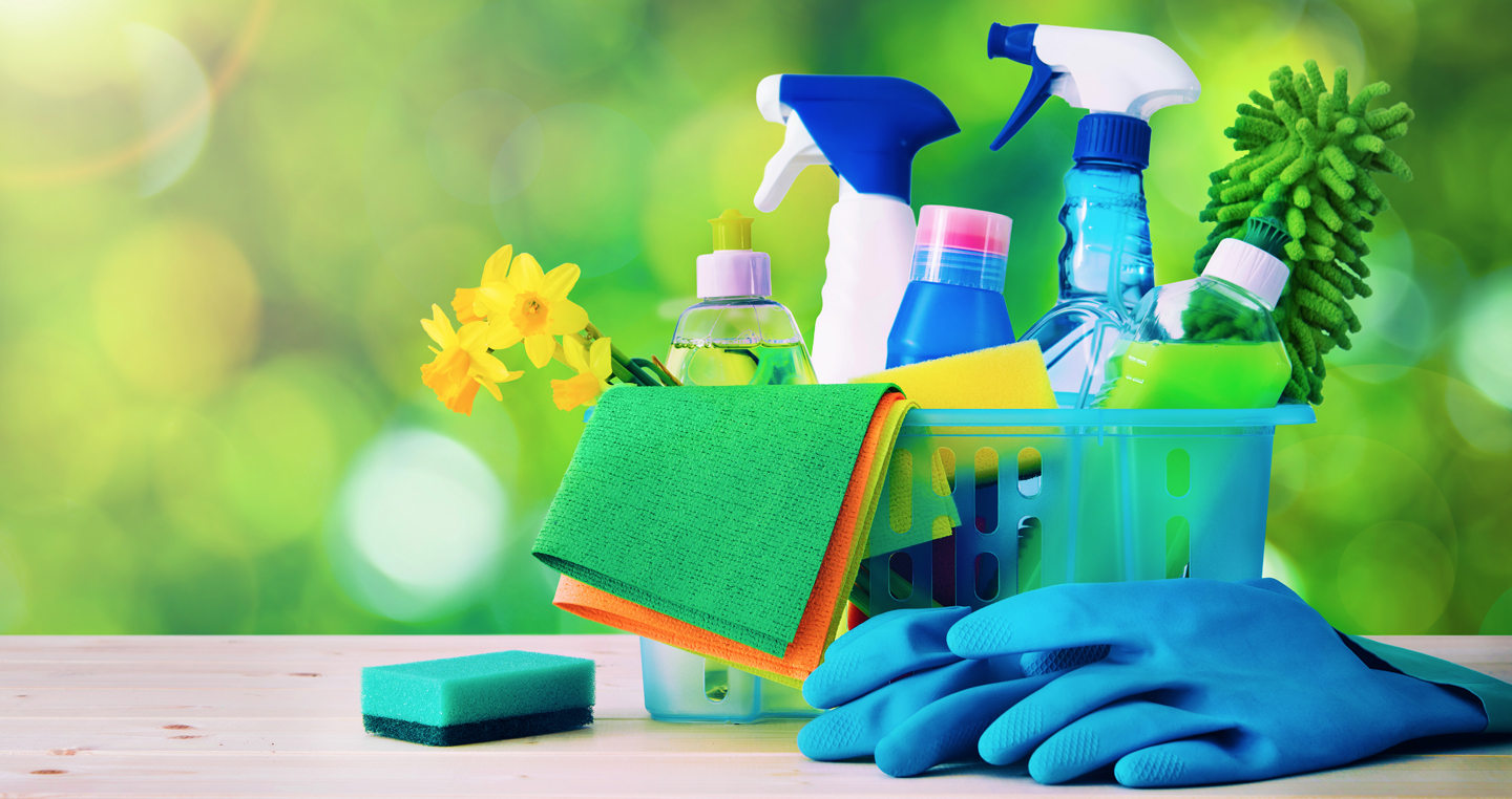 Cleaning supplies for spring cleaning
