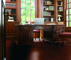 Home office with TORLYS Smart Floors Leather Tile in Modena Wine